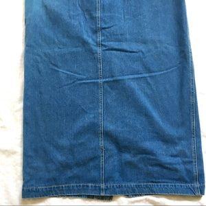 Liz Claiborne Skirts - Blue Stretch Denim Pencil Skirt Front Buttons Sz10